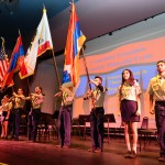 Homenetmen Scouts presenting the colors