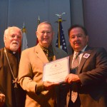 Congressman Dana Rohrabacher presenting Genocide Proclamation to Fr. Moushegh and Dr. Levon Keleshian, Chairman of St. Mary's Genocide Centennial Committee