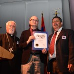 Assemblyman Matthew Harper presenting Genocide Proclamation to Fr. Moushegh and Tony Markarian, Parish Council Chairman