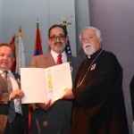 Mayor Marty Simonoff of Brea presenting Genocide Proclamation to Fr. Moushegh and Dr. Levon Keleshian